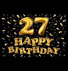 27 anniversary celebration with brilliant gold vector image