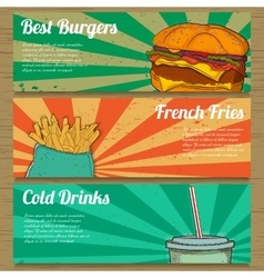 3 food banners for advertising vector
