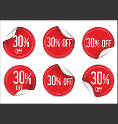 30 percent off red paper sale stickers vector