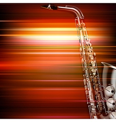 abstract red blur music background with saxophone vector image