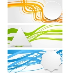 Abstract wavy banners with geometric labels vector image