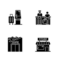 Airport terminal black glyph icons set on white vector