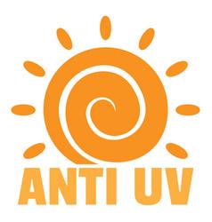 Anti uv sun logo flat style vector