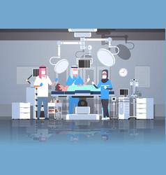 Arabic surgeons team surrounding arab patient vector