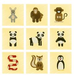 assembly flat shading style icons panda monkey vector image