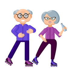 athletic elderly couple on roller skates vector image
