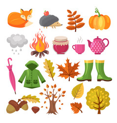 autumn icon set various symbols autumn vector image