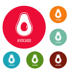 Avocado icons circle set vector