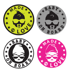 Baby on board hipster style stickers vector