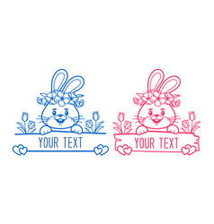 bunny split monogram baby clothes print easter vector image