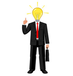businessman with light bulb in his head vector image