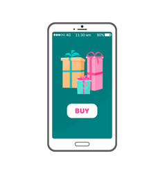 buy button on smartphone with gift boxes wrapped vector image