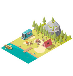 camping on mountain lake shore isometric vector image
