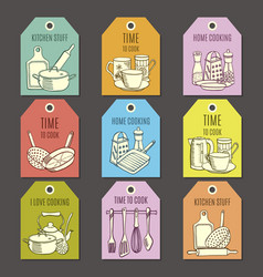 Cards with kitchen ware vector