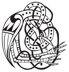 celtic design with knotted lines of a bird vector image