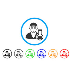 Chemistry man rounded icon vector