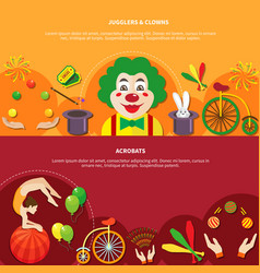 Circus horizontal banner set vector