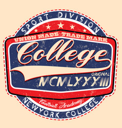 college spiritscollege graphics for t-shirt vector image