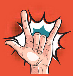 Comic hand showing sign of horns pop art rock vector