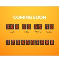 Coming Soon flip countdown timer panel vector