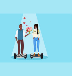 couple riding electric scooter happy valentines vector image