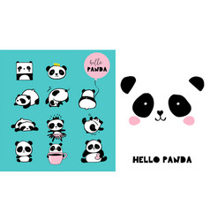 cute panda hand drawn elements vector image vector image