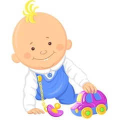 Cute smiling baboy playing with a toy car vector