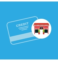Cute store shopping credit card vector