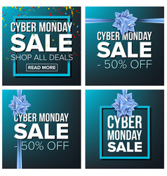 cyber monday sale banner set cartoon vector image