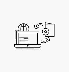 Disc online game publish publishing line icon vector