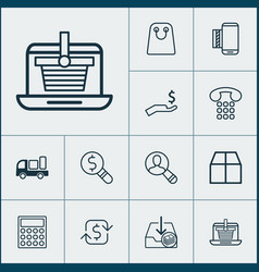 e-commerce icons set with incoming earnings find vector image