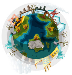 Earth with deforestation and global warming vector