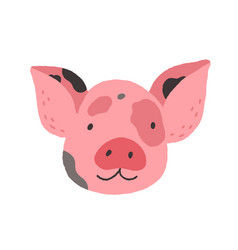 Face of cute baby mini pig funny happy piglets vector