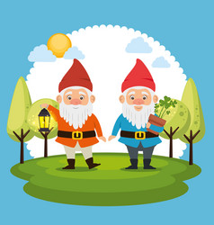 fantastic character dwarf cartoon vector image