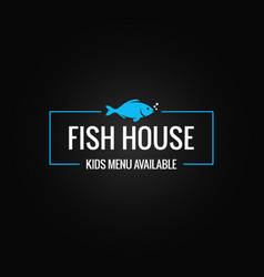 fish menu design fish shop logo frame on black vector image