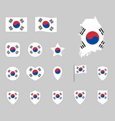 flag south korea set republic korea vector image