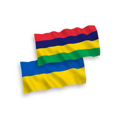 Flags mauritius and ukraine on a white vector
