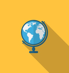 flat icon globe with long shadow style vector image