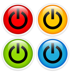 Glossy power button icon set vector