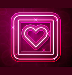Glowing neon line like heart icon isolated on red vector