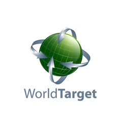 green world target arrow logo concept design vector image