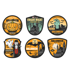 halloween pumpkin ghost bat and vampire badges vector image
