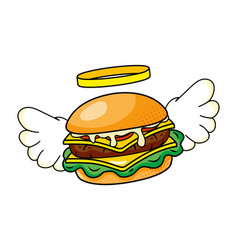 Hamburger with wings vector