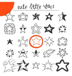 Hand drawn cute little stars vector image