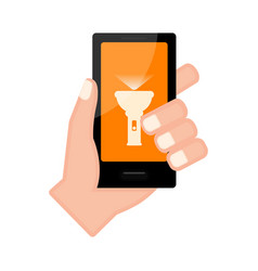 Hand holding a smartphone with a lamp app vector