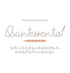 handwritten font script with uppercase vector image