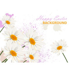 happy easter card with chamomile flowers vector image
