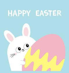 Happy easter white bunny rabbit holding big vector