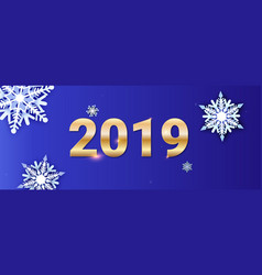happy new year greetings card golden numbers 2019 vector image