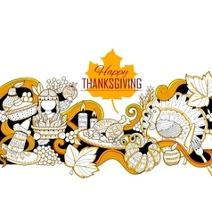 Happy Thanksgiving holiday doodle vector image
